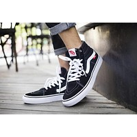 Vans SK8-HI PRO White Black High Top Men Flats Shoes Canvas Sneakers Women Sport Shoes