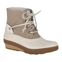 Women's Saltwater Wedge Tide Quilted Nylon Duck Boot in Oat by Sperry