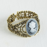 ModCloth Vintage Inspired, 20s, 30s, Statement, French Cameo Charm Bracelet