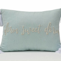 Dorm Sweet Dorm Throw Pillow Cover, Back To School Pillow Cover, Student Gift Mint Silver Lurex Pillow, Big Tassel Pillow, Grey Lurex Pillow