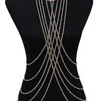 Gold Cross Draped Front Body Chain