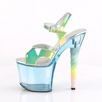 "Unicorn 711T Clear Blue Tint Rainbow Glitter 7"" High Heel Platform Shoes"