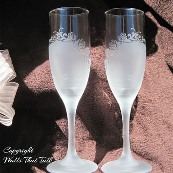 Roses and Swirls, Etched Wedding Glasses, Bride and Groom Glasses, Mr and Mrs Flutes