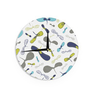 """Laurie Baars """"Mapleseeds Turquoise"""" Blue YellowWall Clock"""