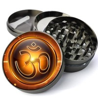 Om Symbol AUM Mantra Extra Large 5 Piece Spice & Herb Grinder With Microfine Screen