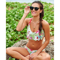 Summer women's halter neck floral sexy Swimwear swimsuit twp piece Bikini Set SJ17062