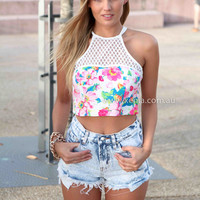 INSTANT CRUSH TOP , DRESSES, TOPS, BOTTOMS, JACKETS & JUMPERS, ACCESSORIES, 50% OFF SALE, PRE ORDER, NEW ARRIVALS, PLAYSUIT, COLOUR, GIFT VOUCHER,,White,Print,LACE,CUT OUT,SLEEVELESS,MINI Australia, Queensland, Brisbane