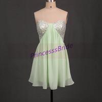 2014 short chiffon bridesmaid dresses with sequins,unique cute gowns for wedding party,chic cheap wome dress on sale.