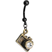 Clear Gem Capture the Moment Brass Camera Dangle Belly Ring | Body Candy Body Jewelry