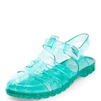 Green Glitter Caged Jelly Shoes