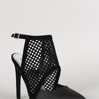 Qupid Nubuck Perforated Pointy Toe Pump Color: Black, Size: 6.5