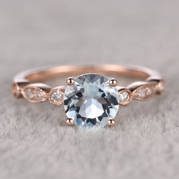 6mm Round Natural Aquamarine Ring!Diamond Engagement ring Rose gold,Bridal,Art Deco Antique,Blue Stone Gemstone Promise Ring,wedding band