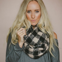 Infinity Scarf, Checkered Scarves,  Women's, Christmas, Fashion Accessories, Chunky, Cozy Loop Scarf,  Checkered Infinity Scarf (SCF-4044)