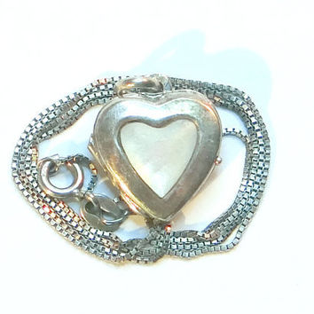 Vintage Sterling Mother of Pearl Heart Locket Necklace