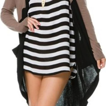 SWELL HALF WAY COLOR BLOCK LONG CARDIGAN