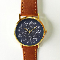 Constellation Watch, Women Watches, Men's Watch, Leather Watch, Vintage Style, Astronomy, Stars, Gold, Silver, Rose Gold Watch, Personalized