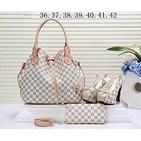 LV Louis Vuitton Trending Women Stylish Leather Tote Satchel Shoulder Bag Handbag Shoes Wallet Three Piece Suit White I-KSPJ-BBDL