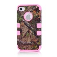 BYG Pink 3 in 1 Heavy Duty Hard Case with Brown Camouflage Woods Design for Apple iPhone 4 4S 4G + Gift 1pcs Phone Radiation Protection Sticker