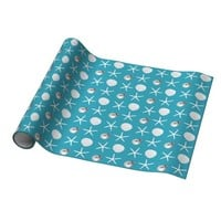 Teal Blue Tropical Holiday Beach Shells Gift Wrap