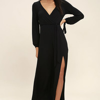 Just the Thing Black Long Sleeve Maxi Dress
