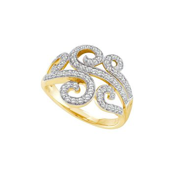 14kt Yellow Gold Womens Round Diamond Curled Swirl Cocktail Band Ring 1/2 Cttw