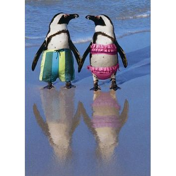 Anniversary Greeting Card  - Penguins Holding Hands