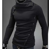 Mens Thick Fashion Slim Fit High Neck Button Turtleneck Casual Sweater Pullovers