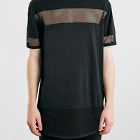 Black Long Line Mesh T-Shirt - New This Week - New In