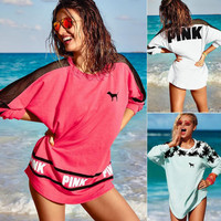 """Victoria's secret """"Pink"""" Fashion Letter Print Round neck Long-sleeves Pullover Tops T-shirt"""