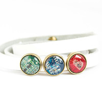 Wrap bracelet - faux leather bracelet and geeky buttons - circuit board jewelry