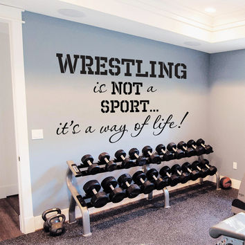 Wall Decal Quote Sports Wrestling It's A Way Of Life Design Vinyl Decals Gym Playroom Nursery Living Room Bedroom Home Decor Art Mural 3786