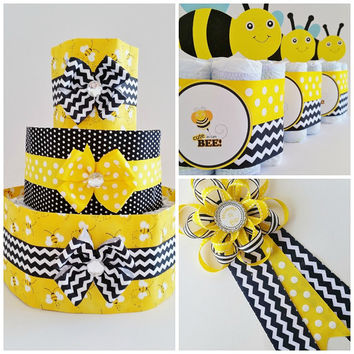 Mommy to Bee Baby Shower Decor Package, Bee Diaper Cake, Gender Reveal Shower Centerpieces, Mommy to Be Corsage, Bee Table Center Pieces