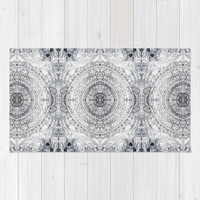 Black&white Mandala - & Grey Blue Rug by TigaTiga Artworks | Society6