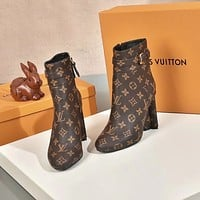 lv louis vuitton trending womens black leather side zip lace up ankle boots shoes high boots 259