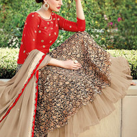 Red and Beige Lehenga Style Silk Anarkali Suit