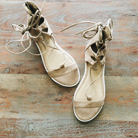A Comfy Lace Up Sandal in Taupe