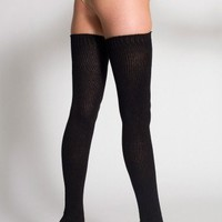 American Apparel Cotton Solid Thigh-High Socks - Black / One Size