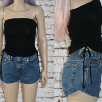 90s crop tube top tank black rouched drawstring sides ties grunge hipster punk festival gypsy cyber goth gothic Y2K XS S shirt Club Kid Rave