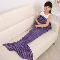 Mermaid Tail Blanket for Kids ,Hand Crochet Snuggle Mermaid,All Seasons Seatail Sleeping Bag Blanket by Jr.White (Kids-Purple)