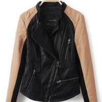 Black Contrast Kakhi Long Sleeve PU Leather Jacket - Sheinside.com