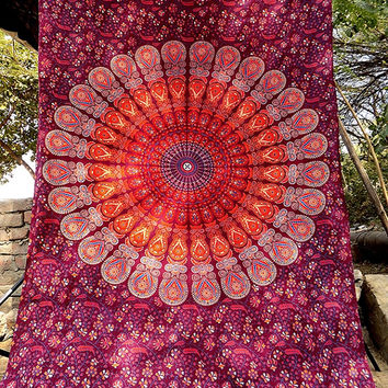 MAROON Hippie Mandala Tapestry wall hanging boho bohemian twin bedding throw bedspread ethnic home decor art