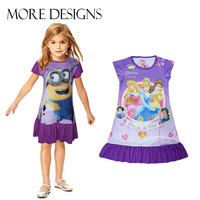 New 2014 summer Despicable Me princess Retail girl print dress brand children casual kidsdress POLYESTER kids clothes party