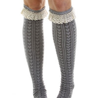 Hearts and Lace Knee High Socks - Gray, Black or White