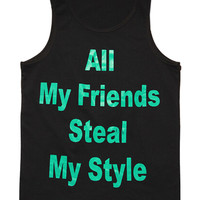Black Letter Printed Vest Top