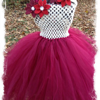 Beautiful Cranberry and Cream Christmas TuTu Dress with Poinsettia Headband-Burgundy and Ivory TuTu Dress