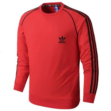 ADIDAS Clover autumn new men's casual sports pullover sweater Red