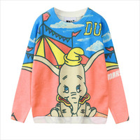 Blue and Pink Circus Elephant Print Sweatshirt
