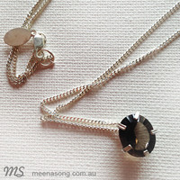 LARGE SOLITARE PENDANT OVAL -  SMOKY QUARTZ by Meena Song Jewellery