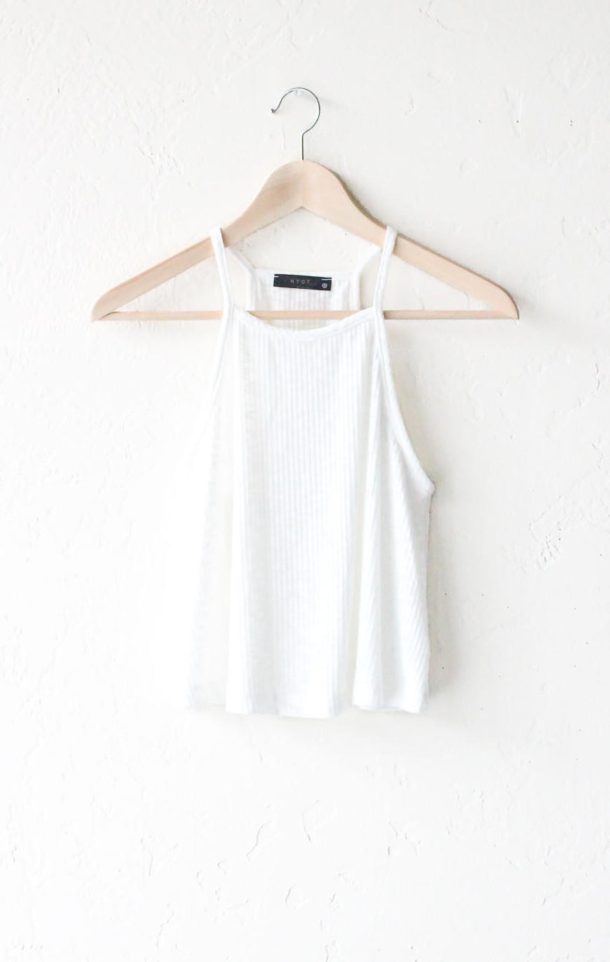 Image of Knit Swing Cami Crop Top - Ivory