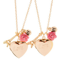 Best Friends Love Heart Shaped Locket, Carved Rose and Eiffel Tower Pendant Necklaces